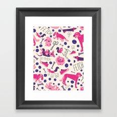 Park dogs in Pink Framed Art Print