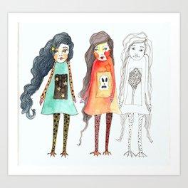 Duck feet girls Art Print