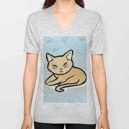 Kawaii Orange kitty with paw background Unisex V-Neck