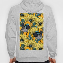 Fairy wren and poppies in yellow Hoody