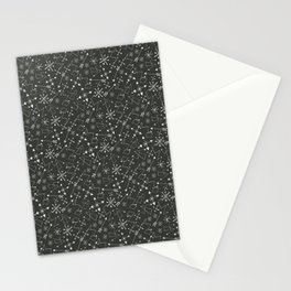 Out of Space, Planets, Stars Children's Pattern - Black Stationery Cards