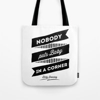 dirty dancing Tote Bags featuring Dirty Dancing white by 16floor