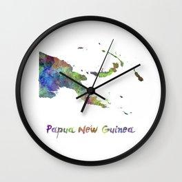 Papua New Guinea in watercolor Wall Clock