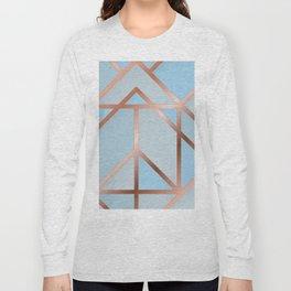Blue Art Deco Long Sleeve T-shirt
