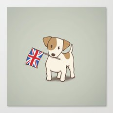 Jack Russell Terrier and Union Jack Illustration Canvas Print