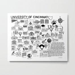 Cincinnati Map Black and White Metal Print