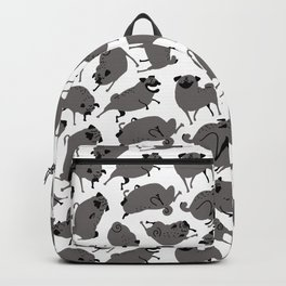 Peppy Black Pug pattern - black and white Backpack