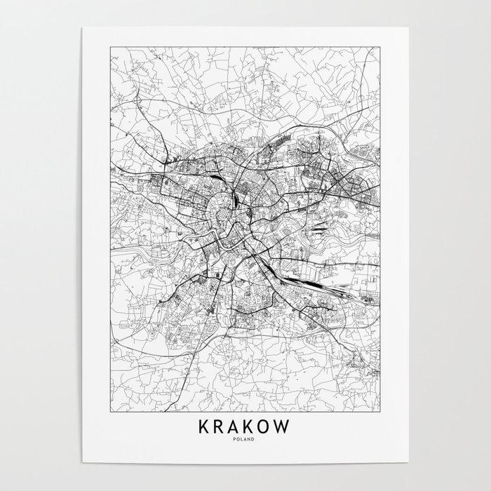 Krakow White Map Poster
