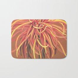 Big Orange Pop Art Chrysthanthemum Bath Mat