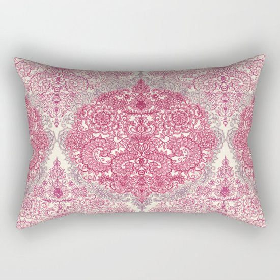 Happy Place Doodle in Berry Pink, Cream & Mauve Rectangular Pillow