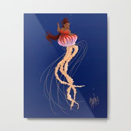 Jellyfish Mermaid Metal Print