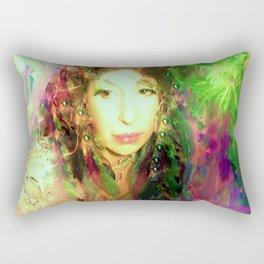 Fairy feather head dress fairy goddess green feathers belly dancer kashmir,art print Rectangular Pillow