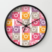 cameras Wall Clocks featuring Vintage cameras by Yasmina Baggili