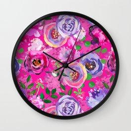 Hand Drawn Vintage Pink Shiny Cloudy Monet Botanical Flower Garden by UtART Wall Clock