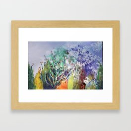 Expressionist, lavande garden painting, multicolor, abstract, surrealist. Framed Art Print