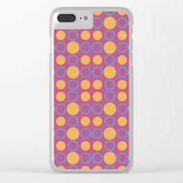 Colorful Geometric Polka Print Clear iPhone Case