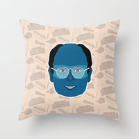 seinfeld Throw Pillows featuring George Costanza - Seinfeld by Kuki