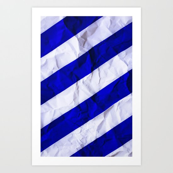Crumbled Navy Stripes Art Print