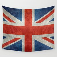 british flag Wall Tapestries featuring British Flag - Union Jack Ensign with grunge style textures by LonestarDesigns2020 is Modern Home Decor