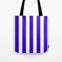 Interdimensional blue - solid color - white vertical lines pattern Tote Bag