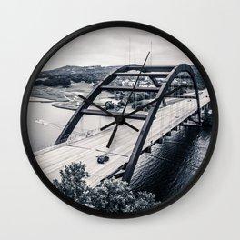 austin's 360 bridge in black & white Wall Clock