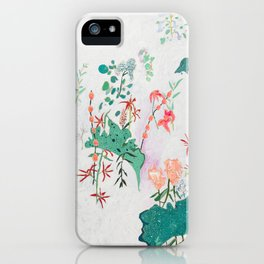 Abstract Jungle Floral on Pink and White iPhone Case