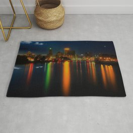 Providence Summer Nights City Skyline Landscape by Jeanpaul Ferro and Mike Dooley Rug