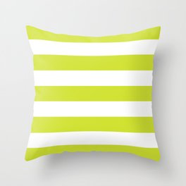 Pear - solid color - white stripes pattern Throw Pillow