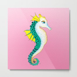 Seahorse Teal Yellow Pink Stained Glass Metal Print