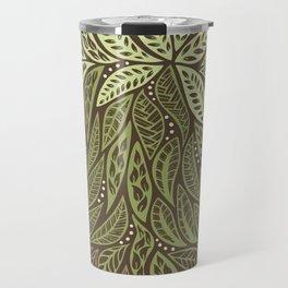 Polynesian Tribal Tattoo Shades Of Green Floral Design Travel Mug