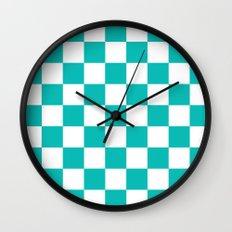 Checker (Tiffany Blue/White) Wall Clock