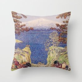 Classical Masterpiece 'California Mountain Landscape'  by Frederick Childe Hassam Throw Pillow