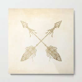 Tribal Arrows Gold on Paper Metal Print