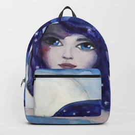 Watercolor Girl Moon and Stars Backpack