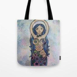 Pearlescent floral spiral goddess Tote Bag