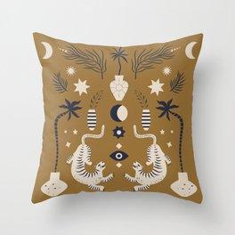 Mid Century Magic Cool Minimal Minimalist Neutral Tones Fantasy Abstract Illustration Moon Sun Tiger Chinese Zodiac Throw Pillow