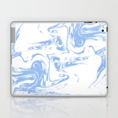 Marbled spilled ink suminagashi japanese marble blue pastel pattern swirl ocean topography Laptop & iPad Skin
