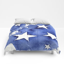 Stars Abstract Blue Watercolor Geometric Painting Comforters