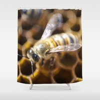 bee Shower Curtains featuring Bee by Victoria Jenkinson Photography