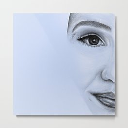 Girl Portrait Pencil Sketch Drawing // Unique Realistic Simplistic Minimalism Face Metal Print
