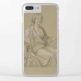 lady seating Clear iPhone Case