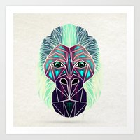 gorilla Art Prints featuring gorilla by Manoou