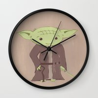 yoda Wall Clocks featuring Yoda by The Naptime Artist