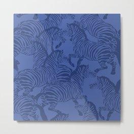 Zebra Stampede in Classic Blue Metal Print