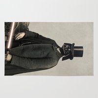 star lord Area & Throw Rugs featuring Lord Vadersworth  - square format by Terry Fan