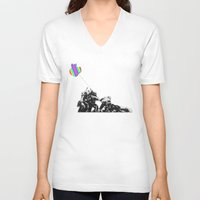 banksy V-neck T-shirts featuring Banksy style by veronica ∨∧