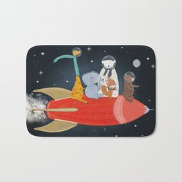 lets all go to the moon Bath Mat