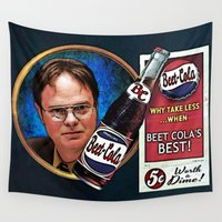 dwight Wall Tapestries featuring Dwight Schrute  |  Beet Cola Advertisement by Silvio Ledbetter
