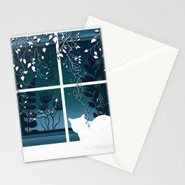 White Kitty Cat Window Watcher Stationery Cards