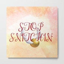 """Stop Golden Snitchin'"" Print Blue/Gold 2/2 Metal Print"